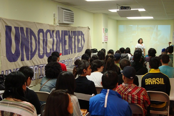 Town hall at Immigrant Movement International in Corona, Queens. Courtesy of ArtSlant.