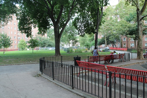 The former site of the Gramsci Monument at Forest Houses in the Bronx, one year later.