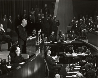 President Harry S. Truman addresses the General Assembly, 1946 . Courtesy of the United Nations Photo Library, Department of Public Information.