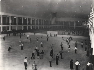 View of roller and ice skating rinks, New York City Building, 1941. Courtesy of the New York City Department of Parks Photo Archive.