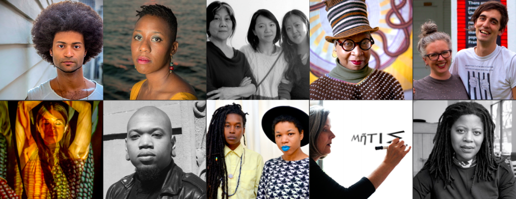 Clockwise from top left: Ron Ragin and Rebecca Mwase, Chinatown Art Brigade: Tomie Arai, ManSee Kong, and Betty Yu, Xenobia Bailey, Courtney Bowles and Mark Strandquist, Simone Leigh, Frances Whitehead, Black Quantum Futurism: Rasheedah Phillips and Camae Ayewa, Joseph Cuillier, and Rulan Tangen.